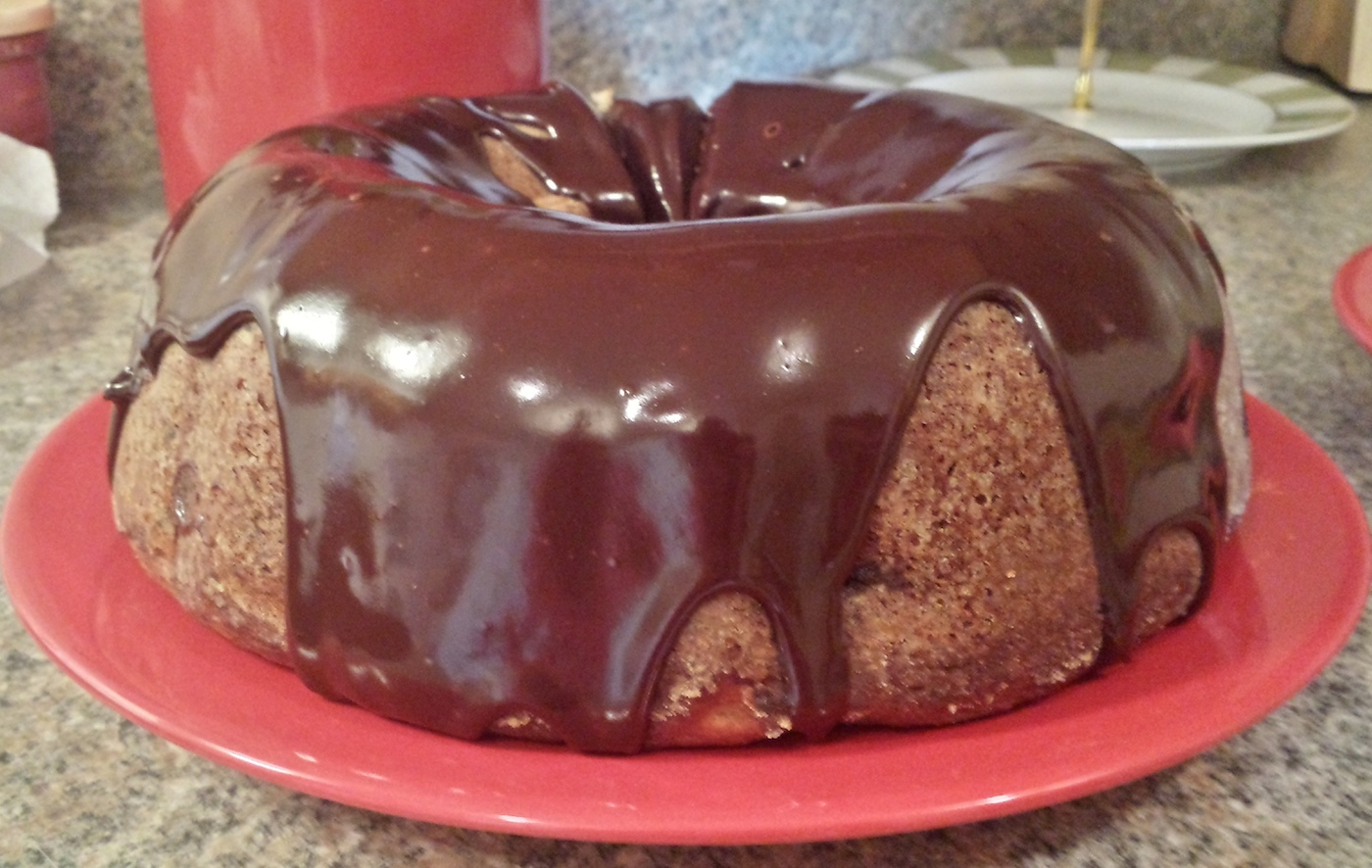 Banana Bundt Cake With Chocolate Ganache Recipe — Dishmaps